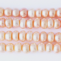 Peach Freshwater Pearl 8mm Button Beads
